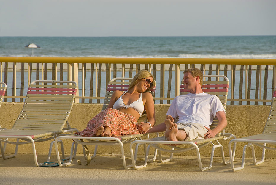 Relax poolside on a lounge chair and enjoy your vacation!