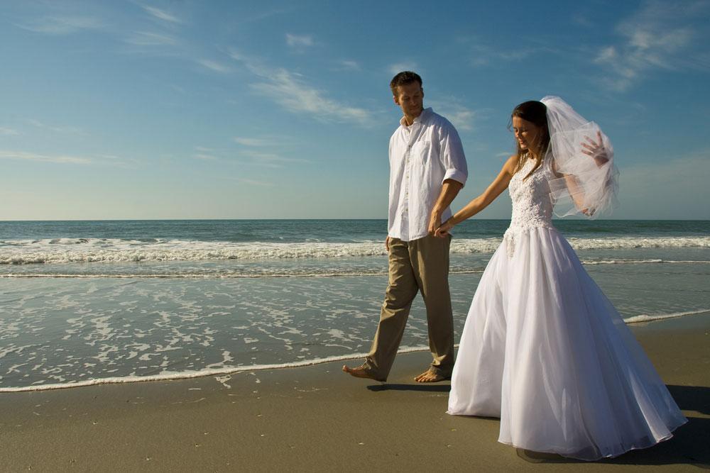 Bride and Groom at Ocean Creek Resort