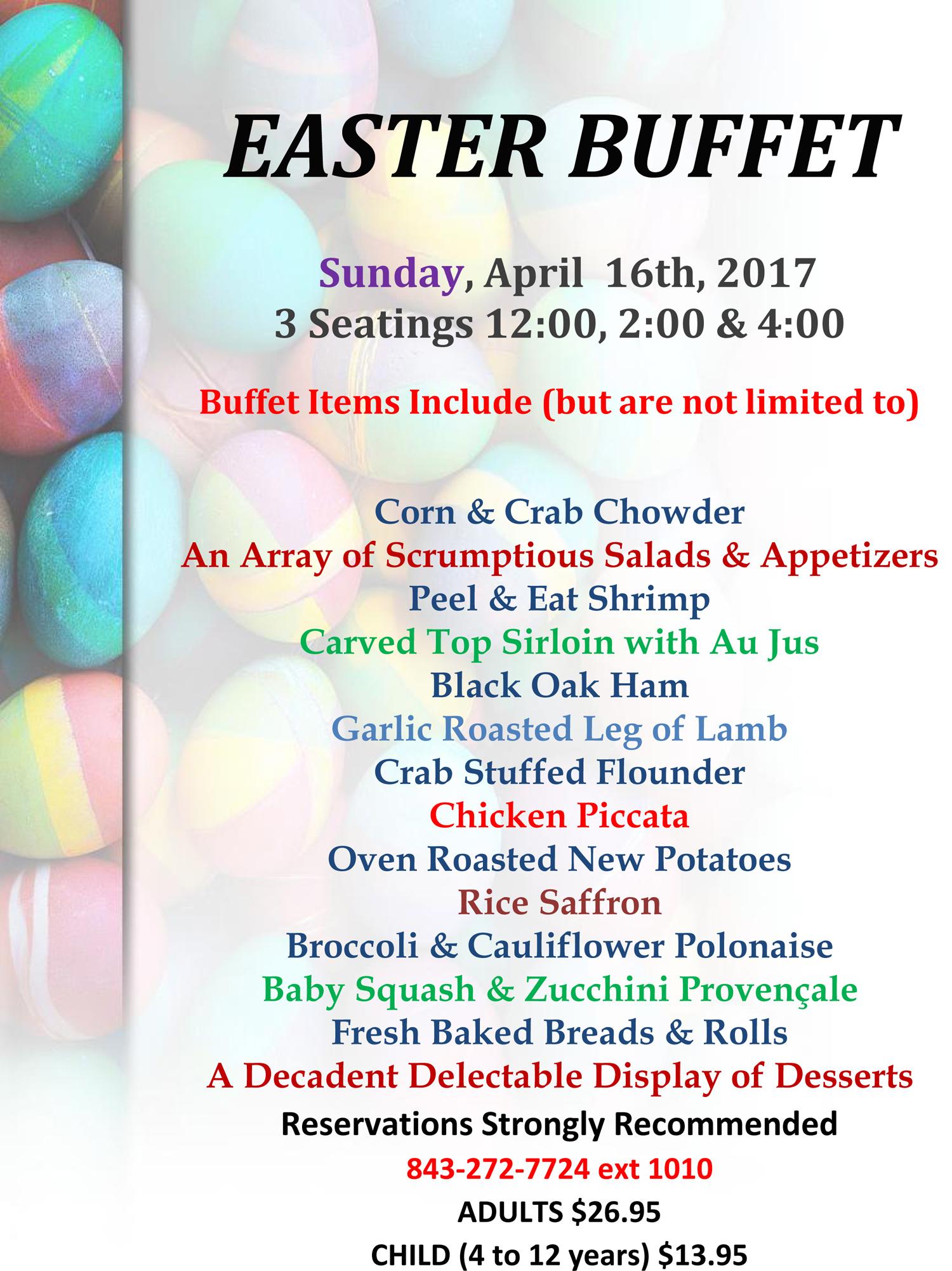 Ocean Creek Resort, near North Myrtle Beach, Easter Brunch menu