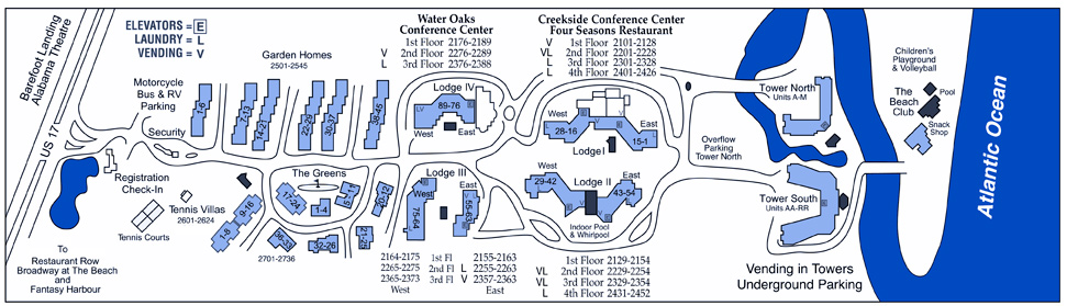 Ocean Creek Resort Property Map in Myrtle Beach